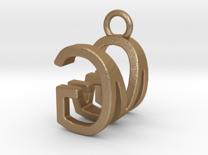 Two way letter pendant - GM MG 3d printed