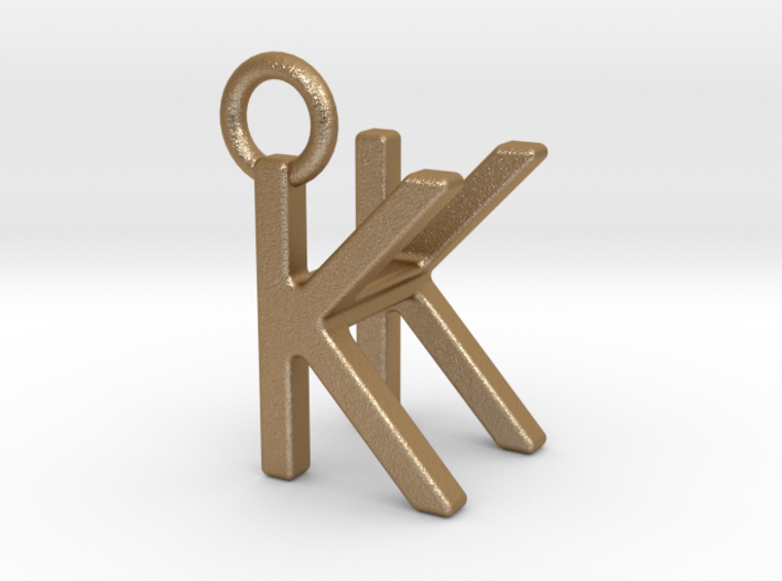 Two way letter pendant - HK KH 3d printed