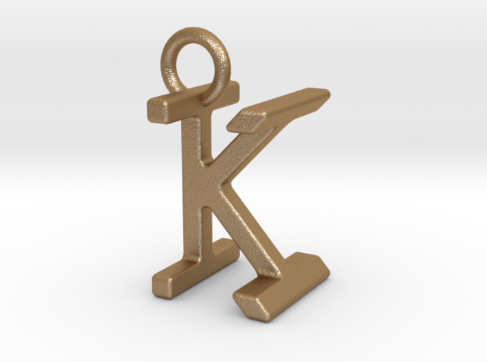 Two way letter pendant - IK KI 3d printed