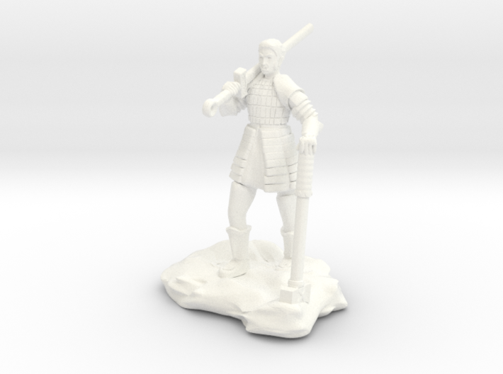 Half Orc In Splint With Sword And Hammer 3d printed