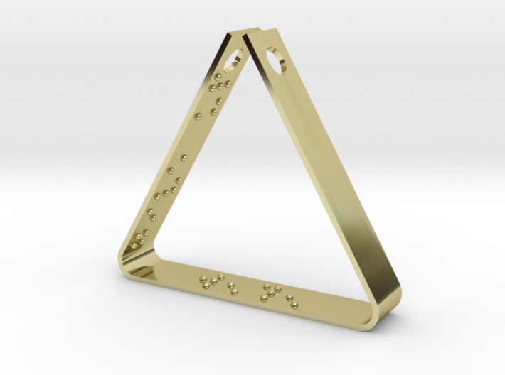 """""""Never Ever Give Up"""" Braille Triangle Pendant 3d printed"""