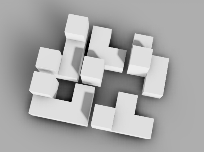 Miniature 5 Piece Interlocking Puzzle 3d printed