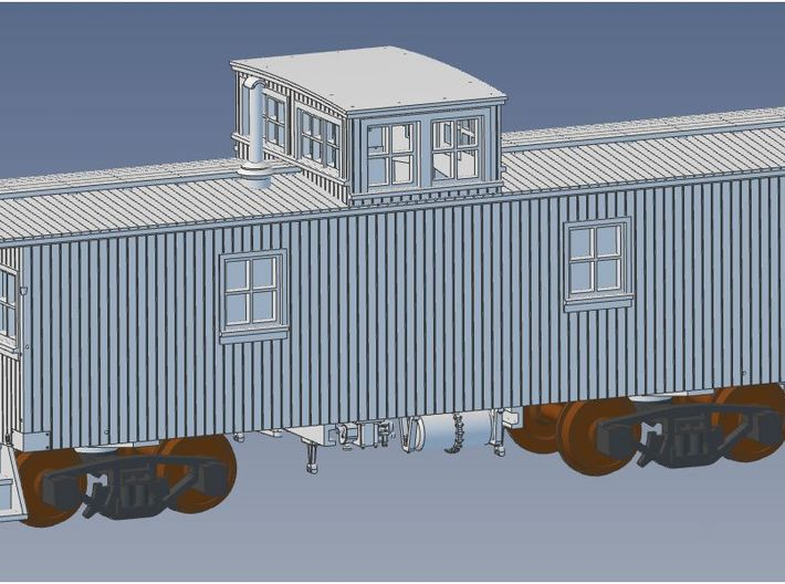 GTW Wood Underframe Caboose HO Scale 3d printed