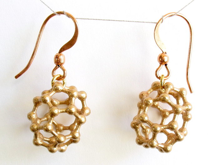 C30 Buckyball earrings 3d printed Raw bronze earrings with copper earwires added