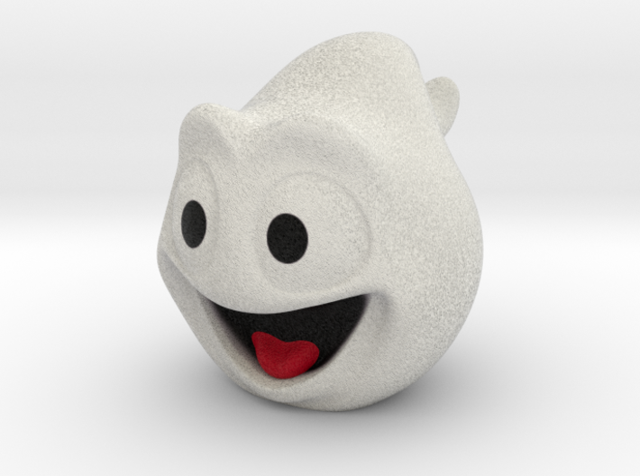 Halloween Ghost Head Smiling White Small 3d printed