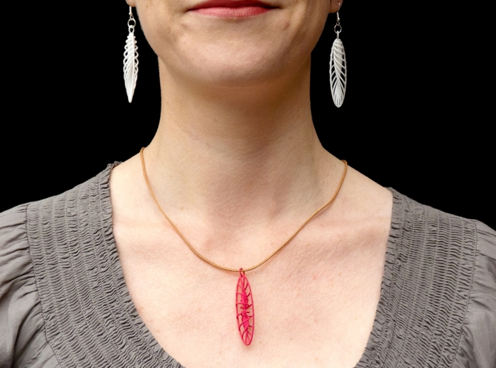 Quark Earrings - Feathers (1rT4FO) 3d printed White Feathers shown with Pink Long Strange