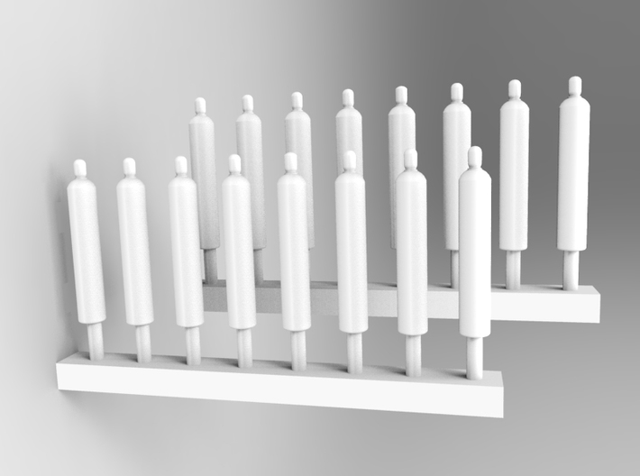 51 Inch Oxygen Bottle Asembly in 1/350th Scale 3d printed