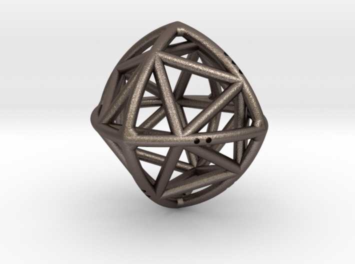 Convex Octahedron with included Icosahedron 3d printed