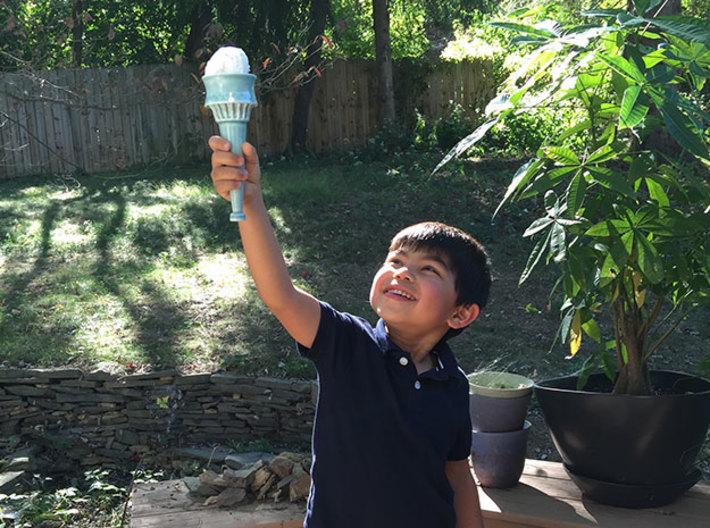 Statue of Liberty Ice Cream Cone 3d printed Shown in Gloss Celadon Green before use