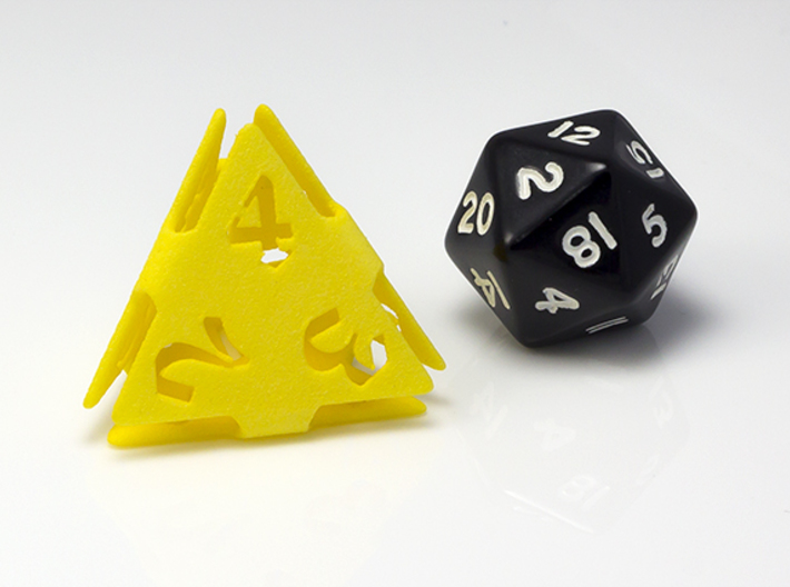 Big die 4 / d4 26mm / dice set 3d printed ...with a traditional d20 for scale