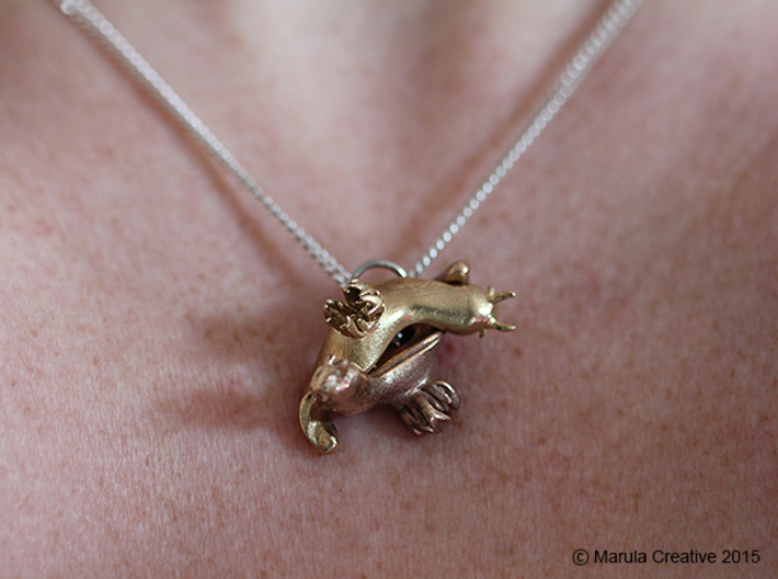 Yana the Nudibranch Pendant 3d printed Raw Bronze and Raw Brass pendants fitting together