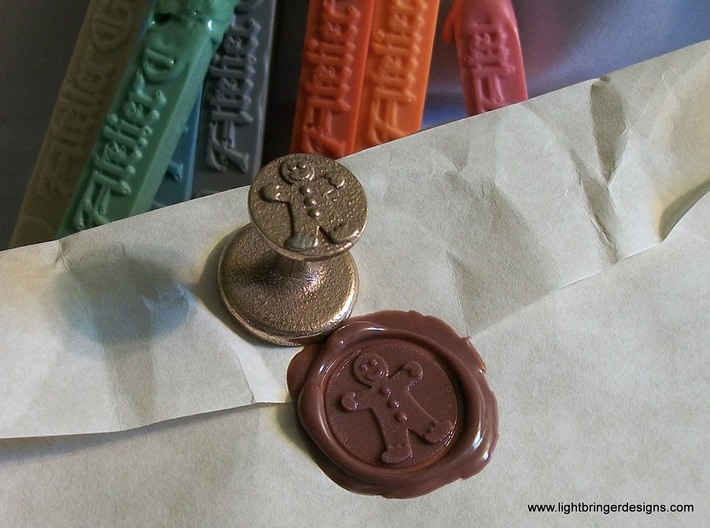 Gingerbread Man Wax Seal 3d printed Gingerbread Man Wax Seal in Stainless Steel, with the impression in Gingerbread Brown sealing wax.