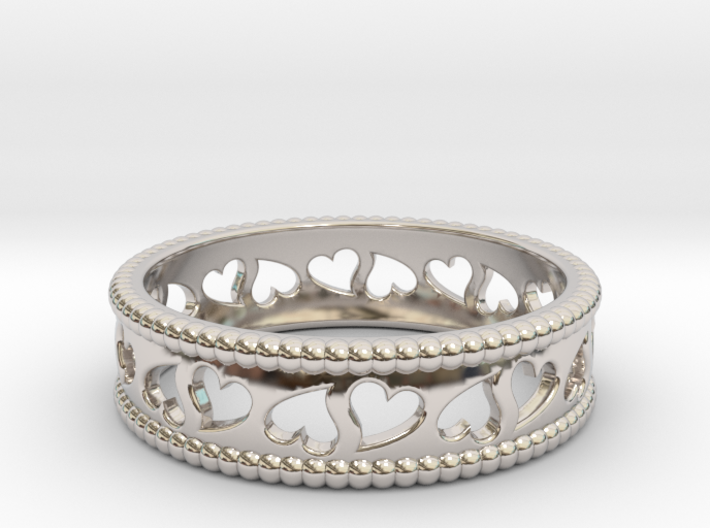 Size 6 Hearts Ring A 3d printed