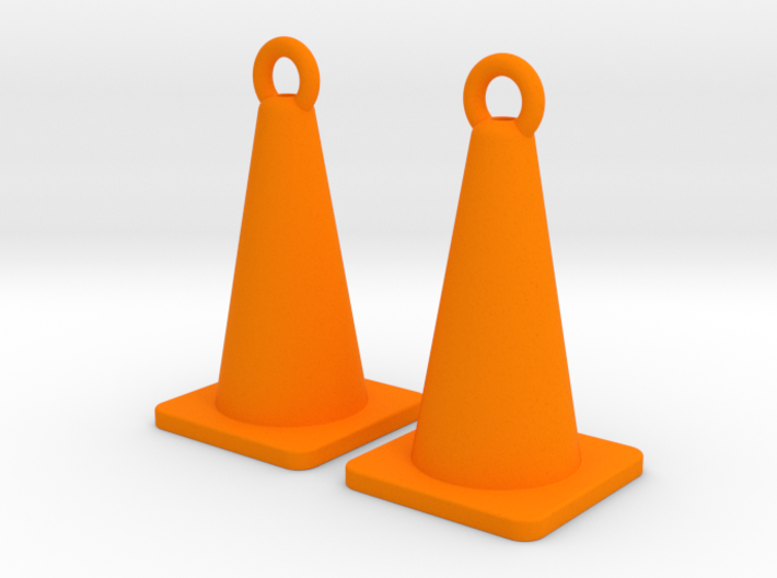 Traffic Cone Earrings 3d printed