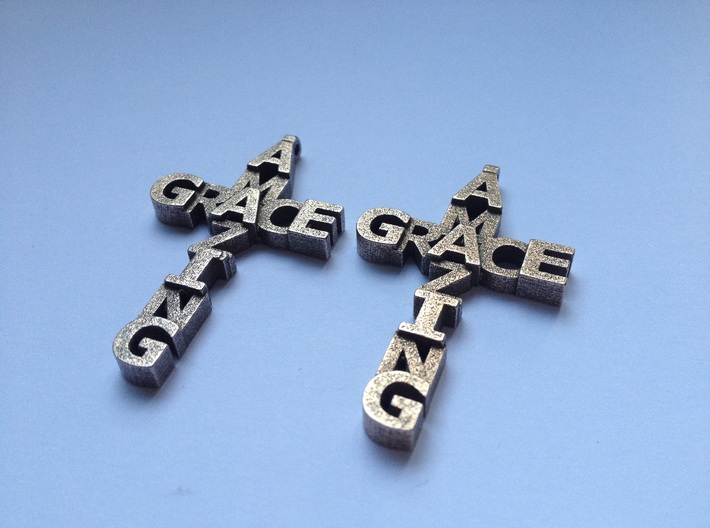 Amazing Grace Cross Earrings 3d printed This is a real product shot in stainless steel.