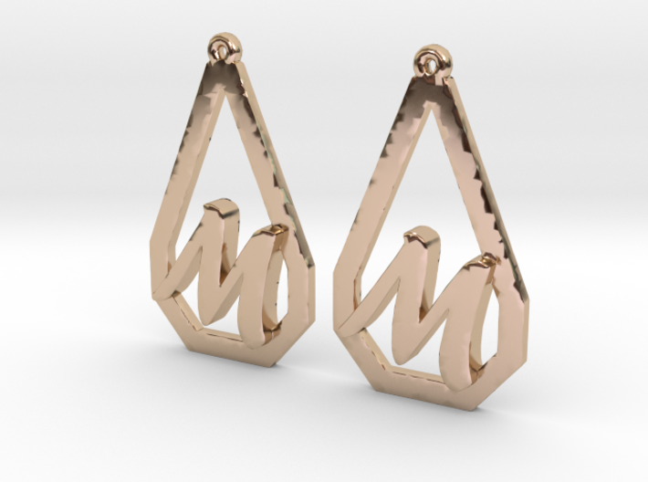 Teardrop Monogram Earrings Small (customizable) 3d printed