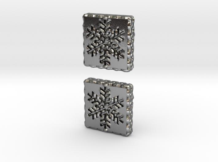Snowflake Cufflinks (Curved Post) 3d printed