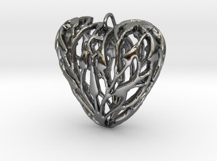 Bamboo Heart Pendant 3d printed