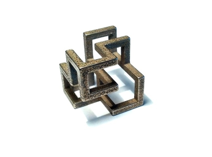 Cube Frame Pendant 3d printed Stainless Steel
