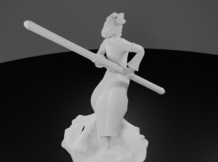 Dragonborn Monk in Robes with Quarterstaff 3d printed 3D Render