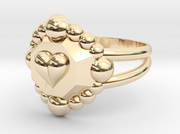 Size 7 Diamond Heart Ring E 3d printed