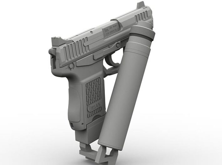 1/6 SPM-6-001-Hk45-02 H&K 45C suppressor version 3d printed