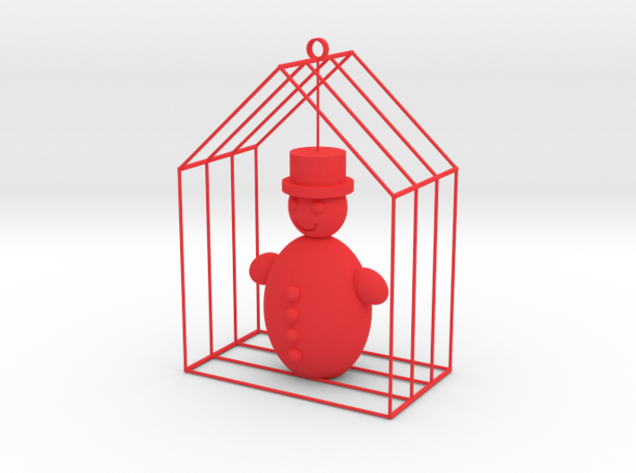 Christmas home with snowman 3d printed