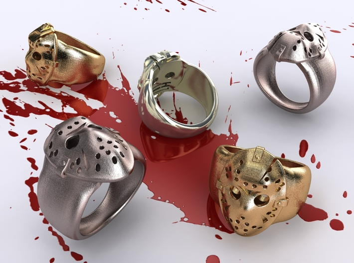 Jason Ring Fixed 19mm 3d printed Stainless Steel, Gold Plated Matte & Premium Silver renders