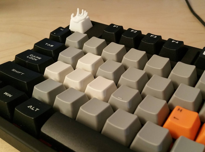 Hand Cherry MX Keycap 3d printed Hand Cherry MX Keycap in White Strong & Flexible (Photos by prototypepacifist)