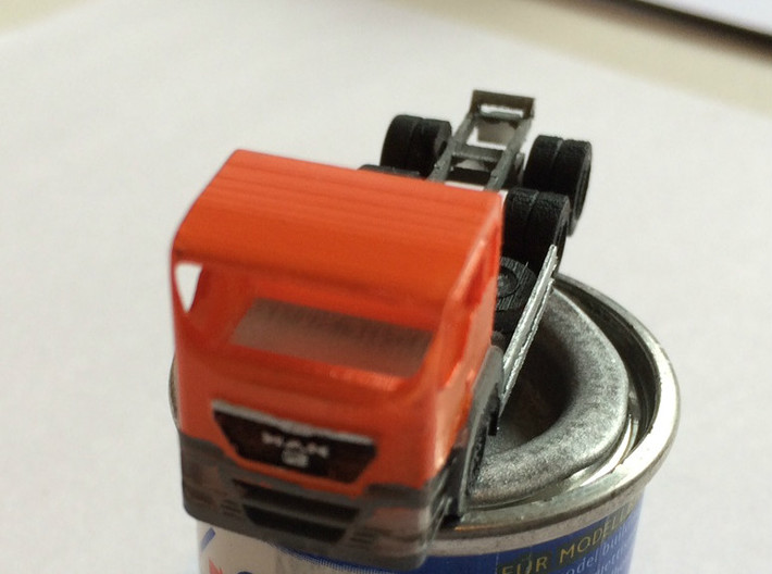 N Scale MAN TGS Dump Truck 3d printed First prototype in paint stage
