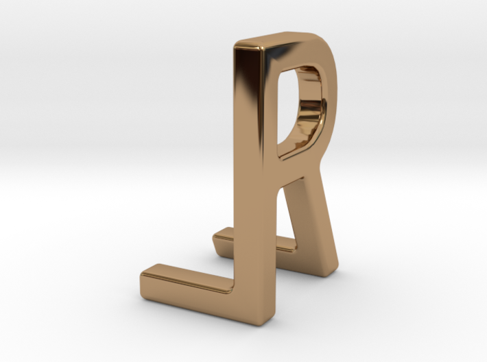 Two way letter pendant - LR RL 3d printed