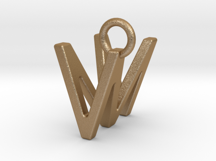 Two way letter pendant - MV VM 3d printed