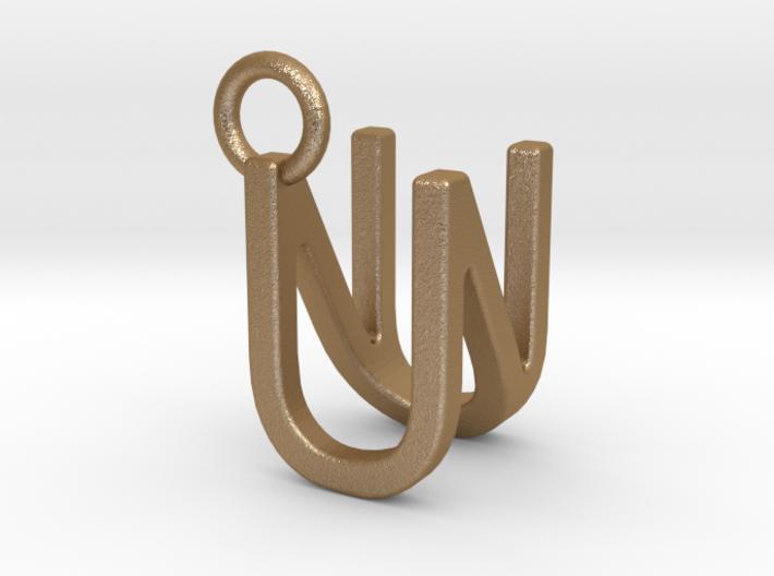 Two way letter pendant - NU UN 3d printed