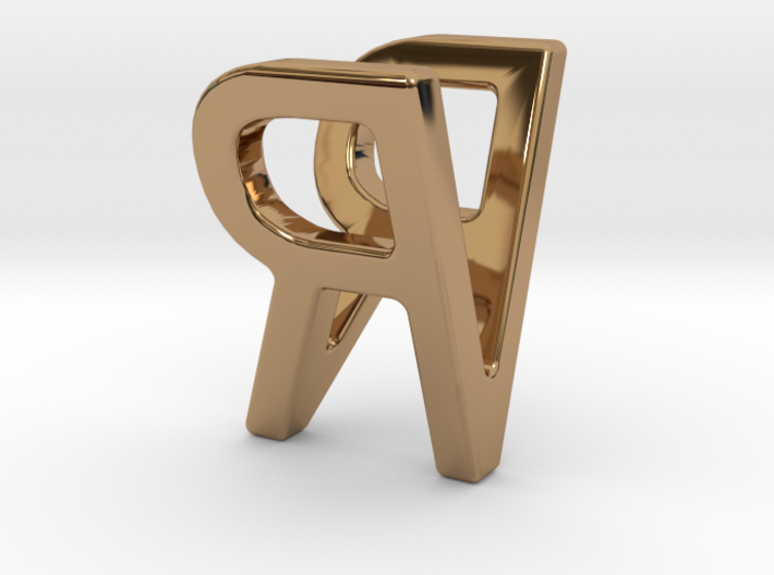 Two way letter pendant - RV VR 3d printed