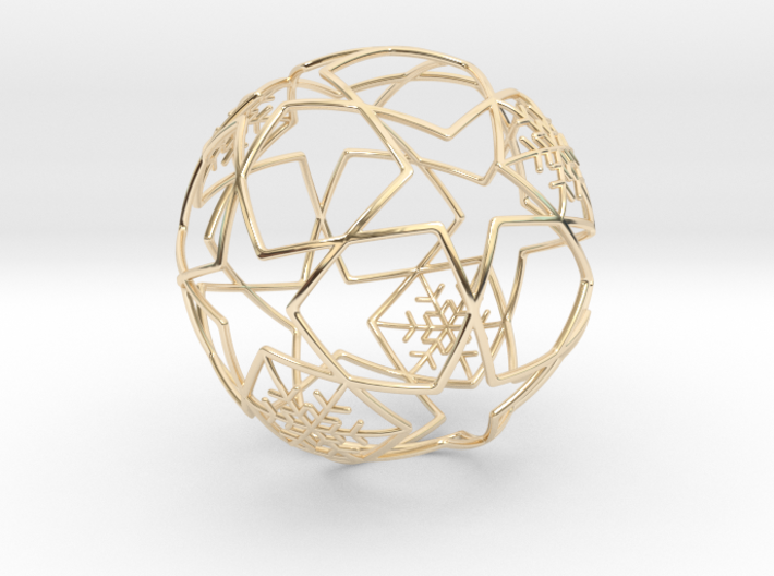 iFTBL Xmas Frozen Stars Ball - Ornament 60mm 3d printed 14k Gold Plated / For other materials and prices... please click on material icons.
