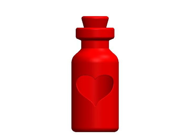 Small Bottle (heart) 3d printed