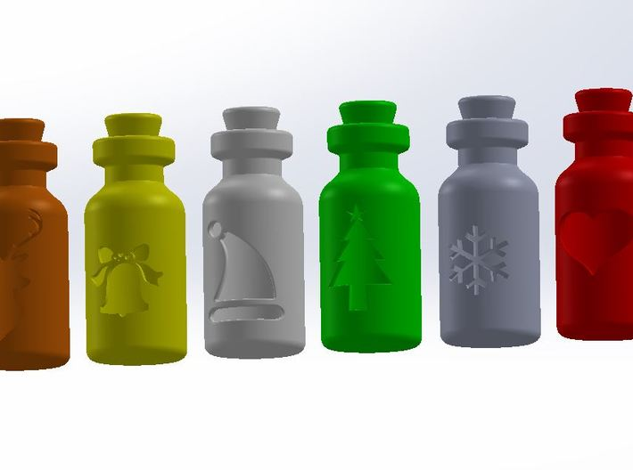 Small Bottle (snowflake) 3d printed