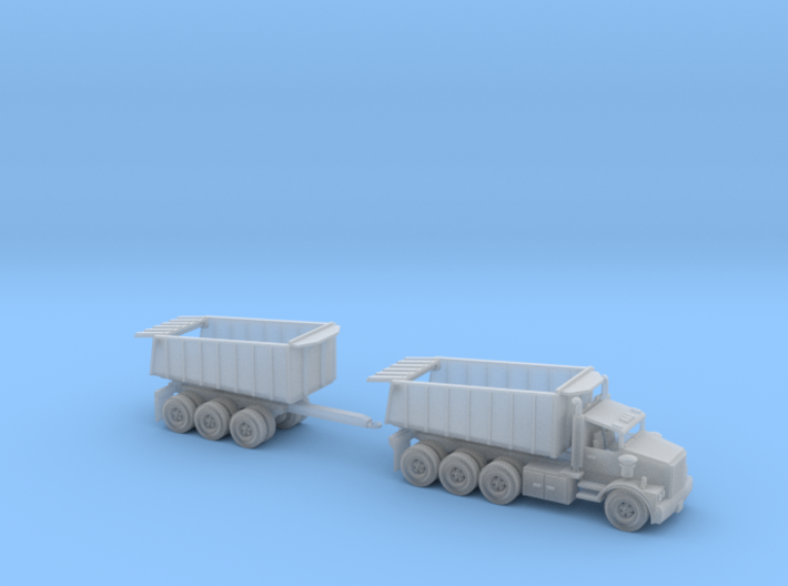 Dump Truck With Trailer Tri Axle N Scale 3d printed 1 Tri Axle Dump Truck with Dump Trailer N scale