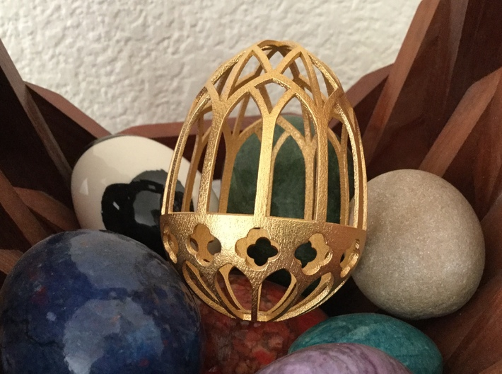 Gothic Egg Shell 1 3d printed Gothic Egg Shell 1 in Matte Gold Steel