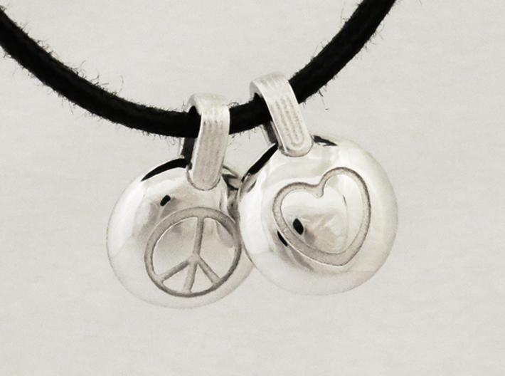 Peace & Love 3d printed Rhodium Plated