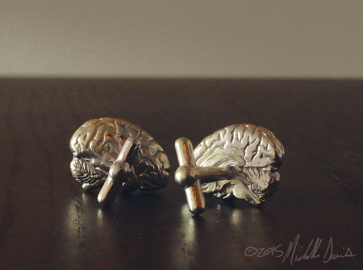 Anatomical Brain Cufflinks 3d printed