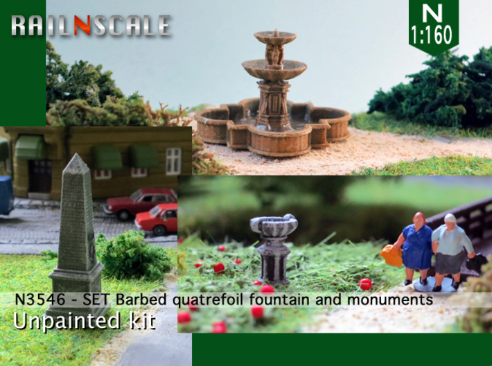 SET Quatrefoil fountain with monument (N 1:160) 3d printed