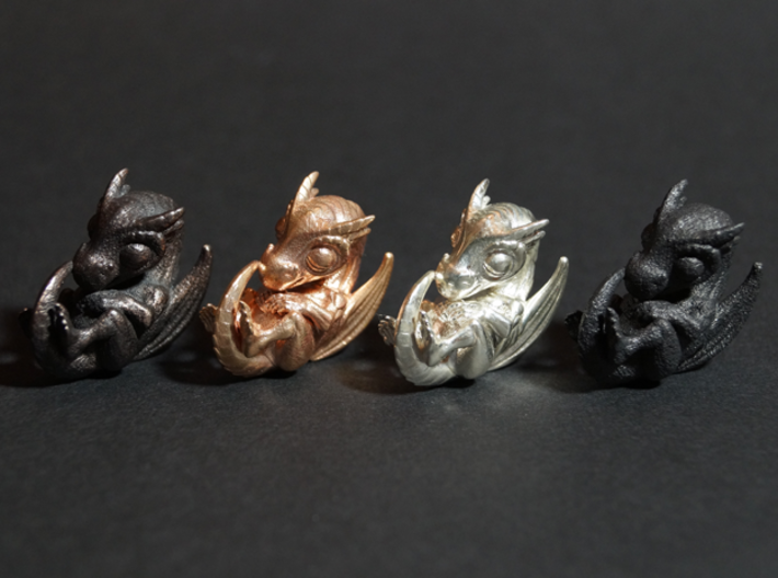 Dragon Baby Talisman 3d printed Polished Grey Steel, Raw Bronze, Polished Silver and Matte Black Steel