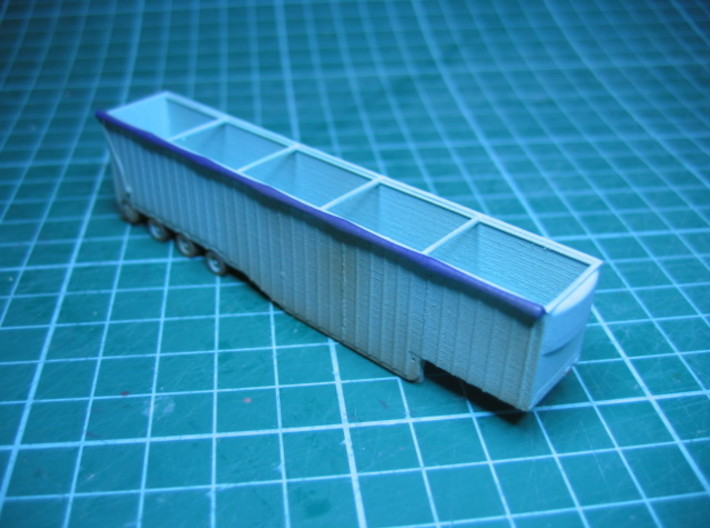 N scale 1/160 Woodchip trailer 53ft possum-belly 3d printed Slightly weathered.