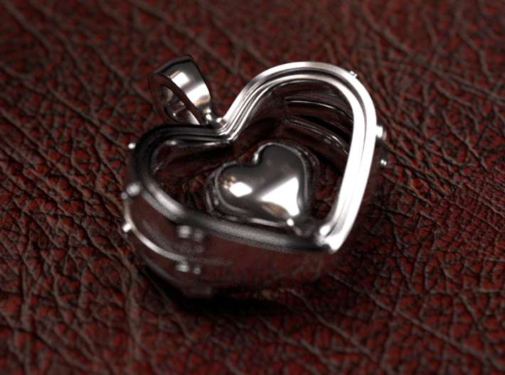 Heart in the Heart pendant v.2 3d printed