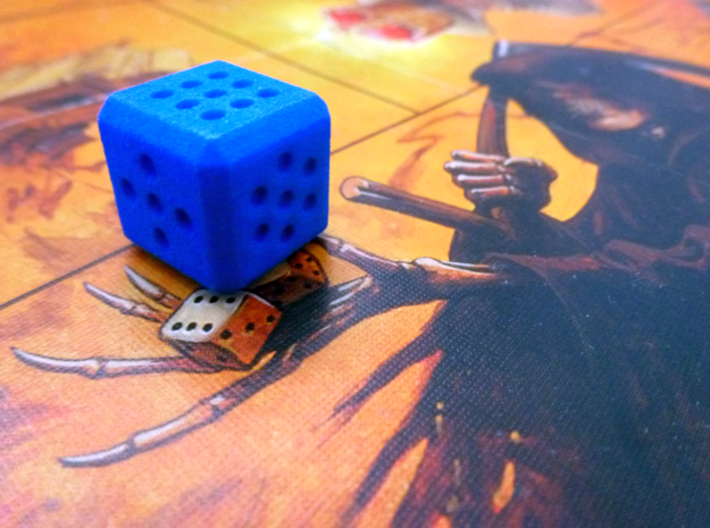 Variable pip die - roll your own dice 3d printed Blue, bevelled edge