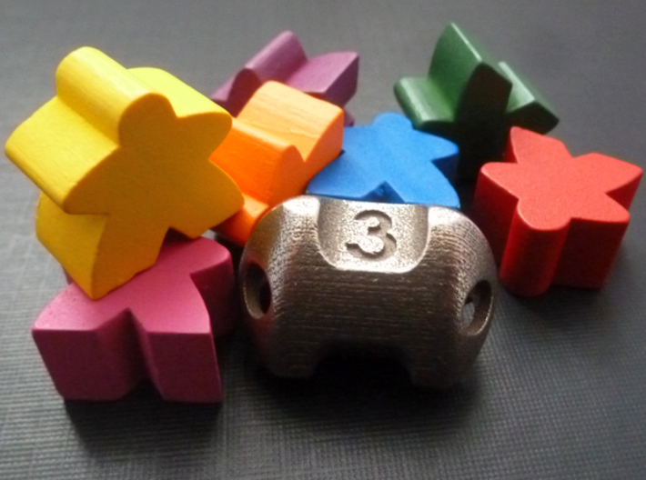 Three sided 'pepperpot' dice  3d printed Meeples not included