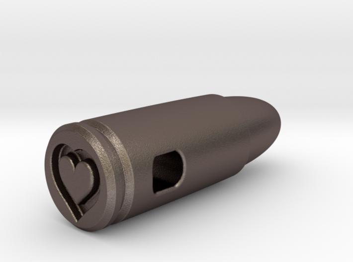 9mm Bullet Of Love Pendant, Steel 3d printed