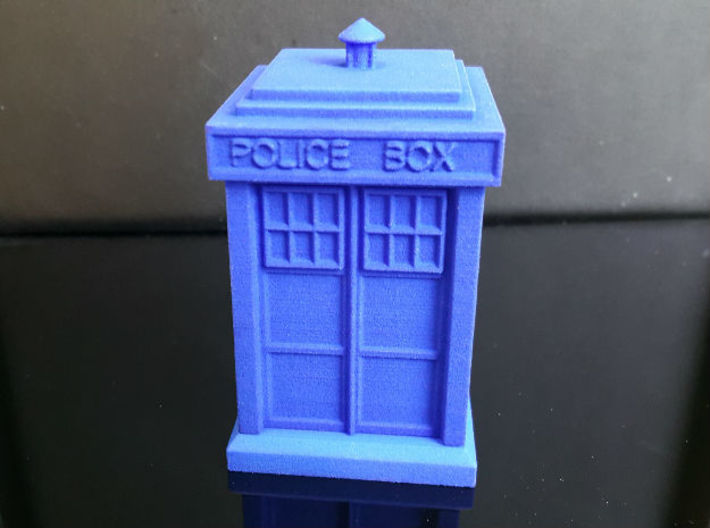 TARDIS Ring Box Part 1 3d printed shown in blue strong and flexible plastic