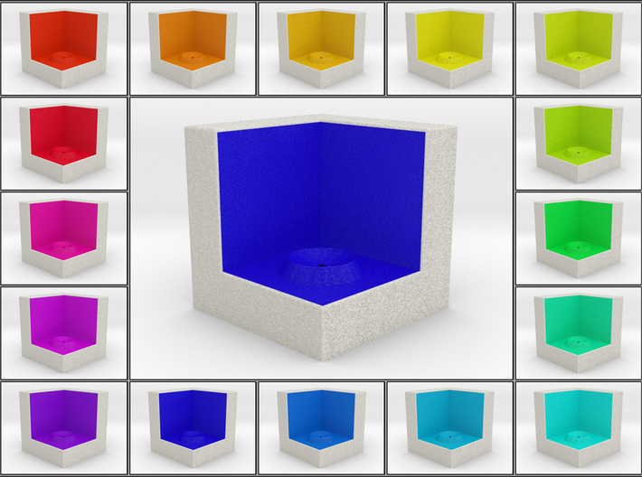 LuminOrb 1.3 - Cube Stand 3d printed Shapeways render of Cube Display Stand for COMPASSION in Full Color Sandstone